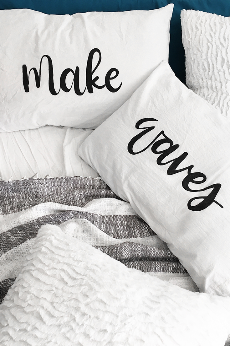 DIY Brush Lettering Pillow by Drawn to DIY