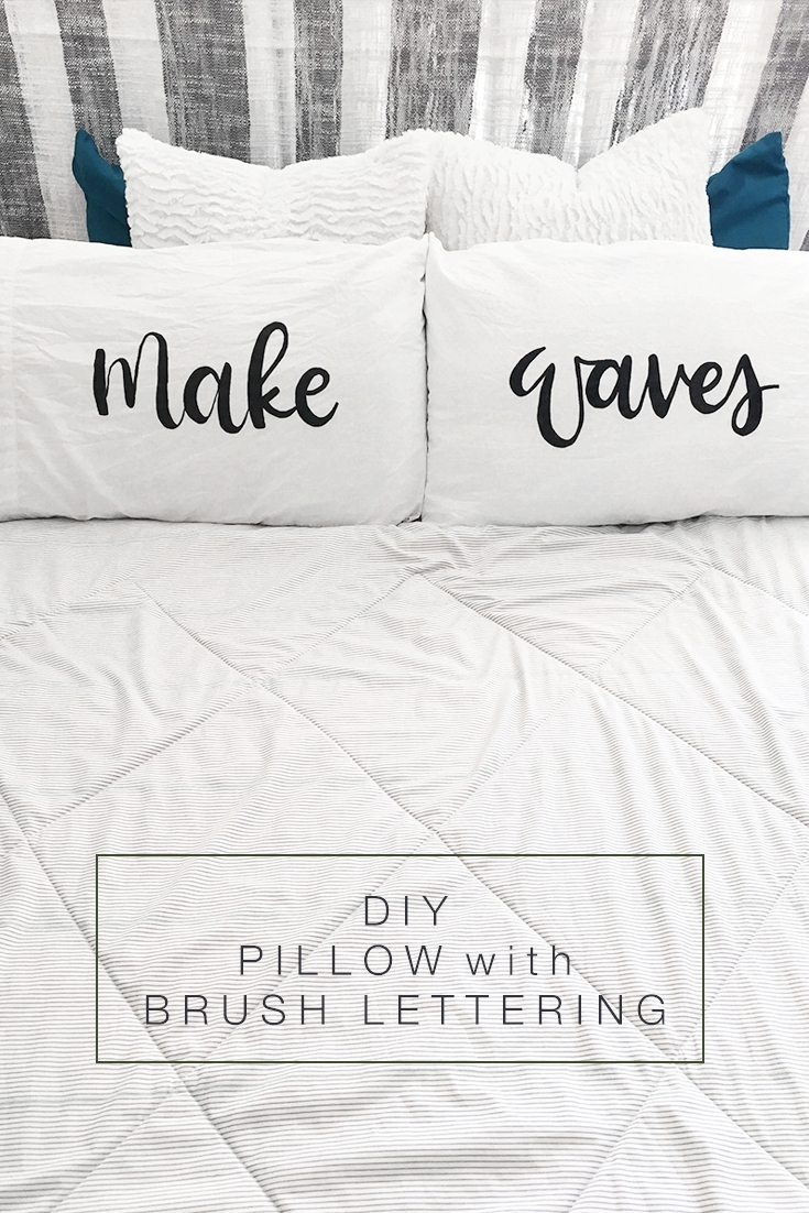 DIY Brush Lettered Pillow by Drawn to DIY