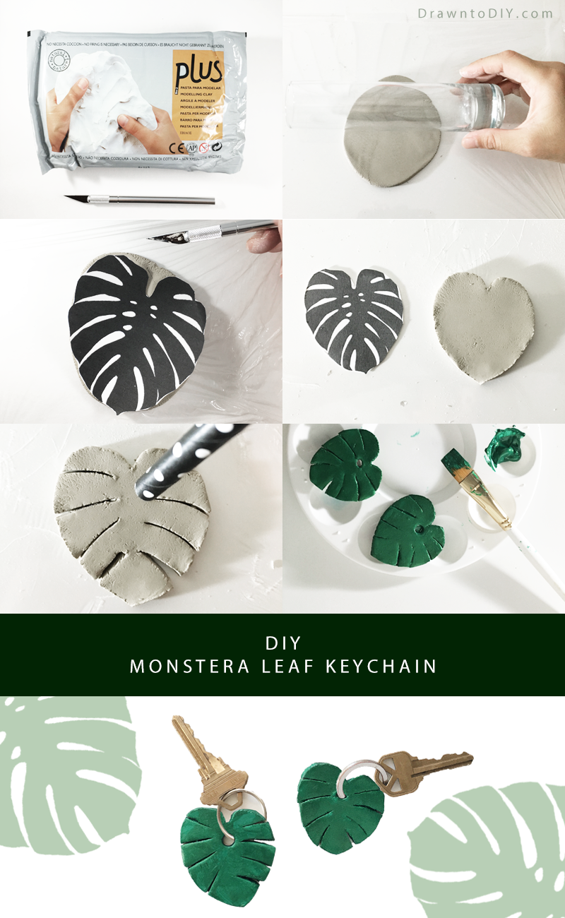 DIY Clay Monstera Leaf Keychain by Drawn to DIY