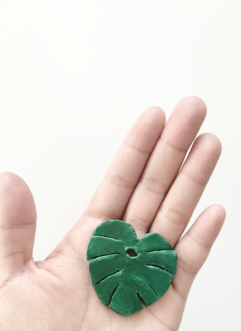 DIY Monstera Leaf Clay Keychain by Drawn to DIY