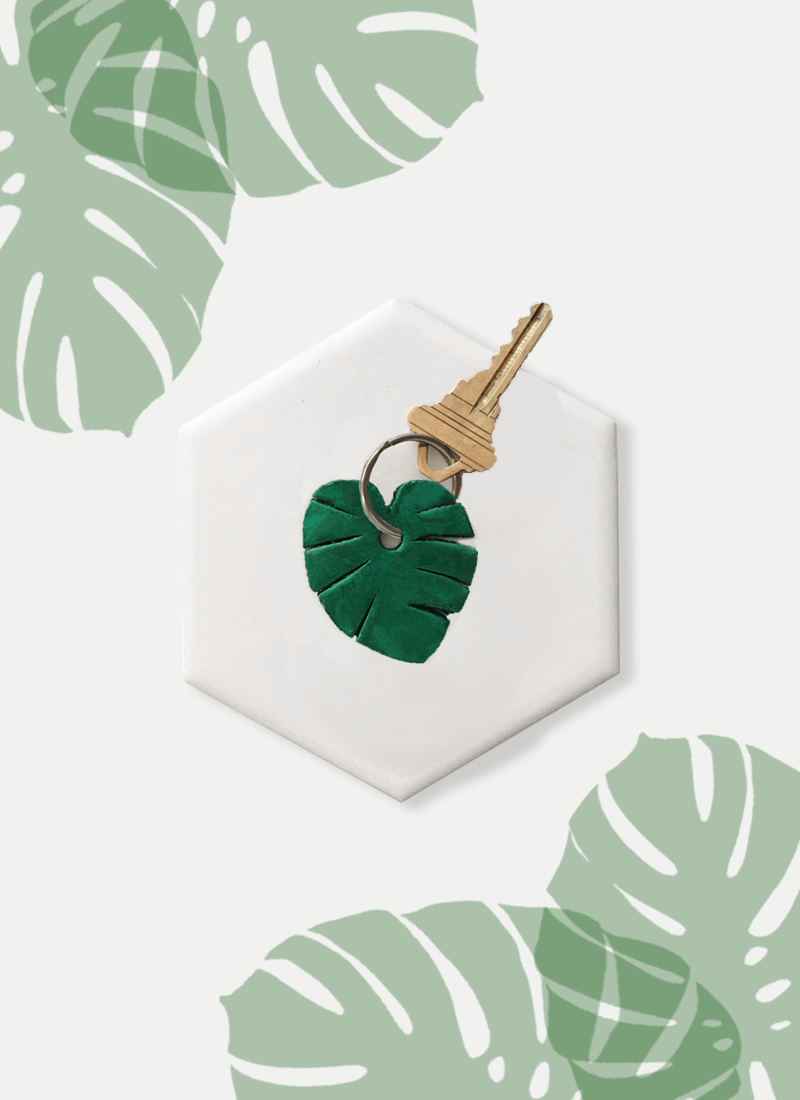 DIY Monstera Leaf Keychain with Free Template by Drawn to DIY