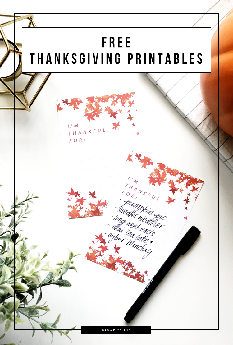 Free Thanksgiving Printables @DrawntoDIY