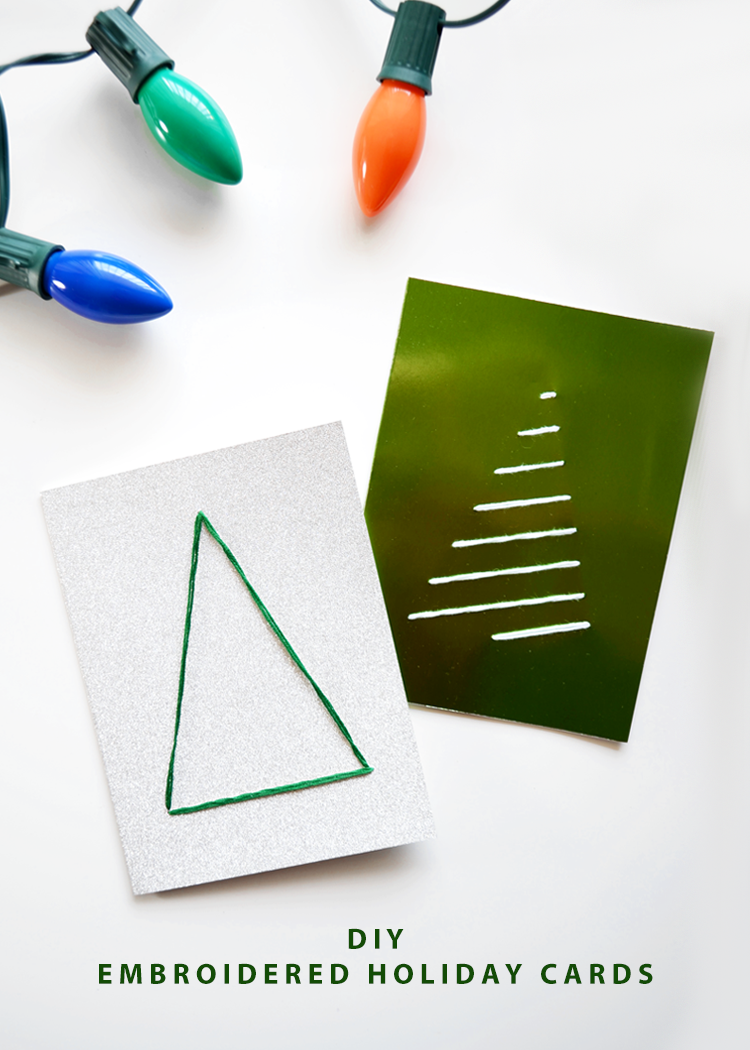 DIY Embroidered Holiday Cards with Free Templates @DrawntoDIY