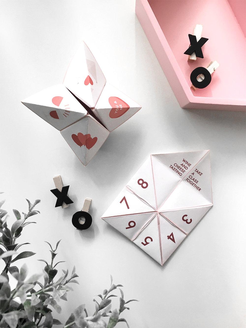 valentine 39 s day paper fortune teller printable drawn to diy. Black Bedroom Furniture Sets. Home Design Ideas