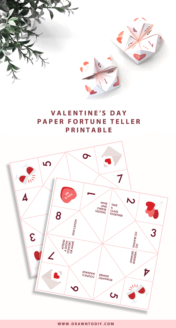 Valentines Day Fortune Teller Printable @DrawntoDIY