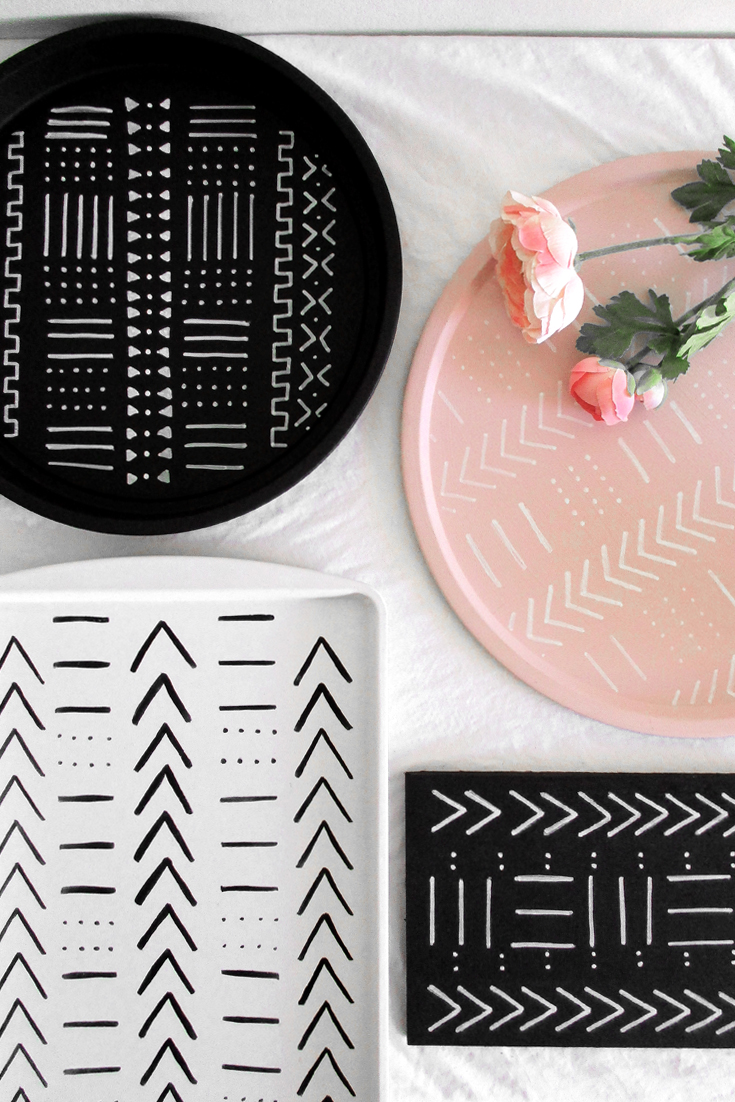 DIY Mudcloth Design Trays | @DrawntoDIY