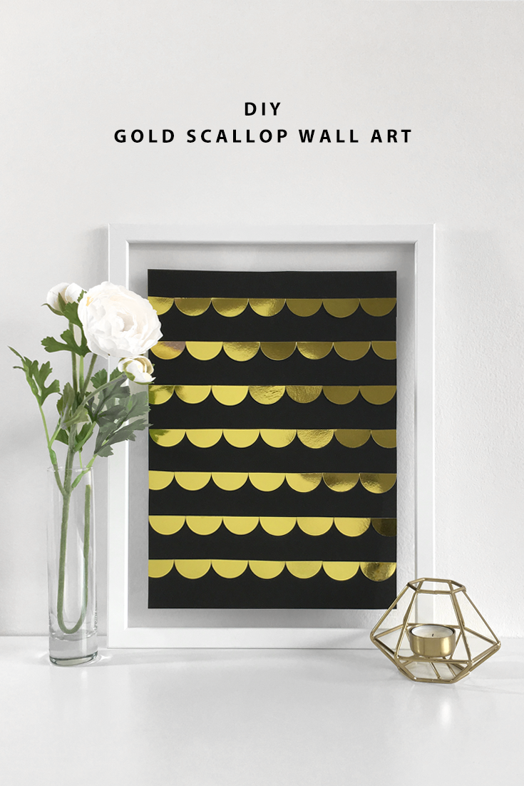 DIY Gold Scallop Wall Art by Drawn to DIY