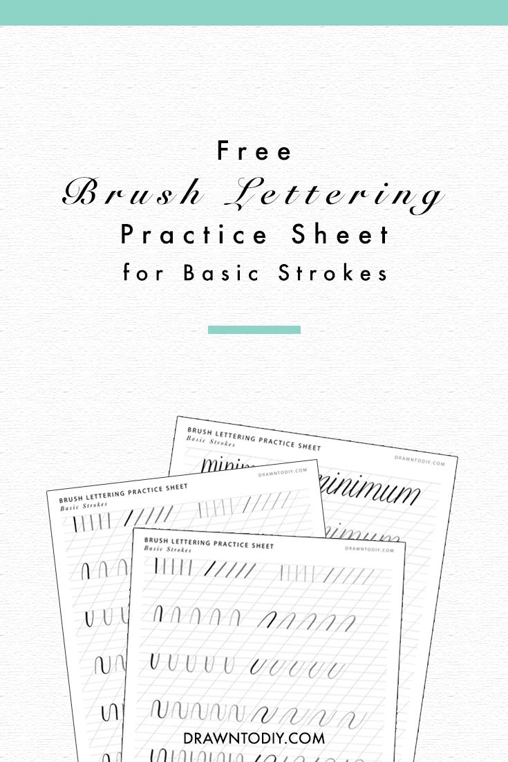 brush lettering practice sheet basic strokes drawn to diy