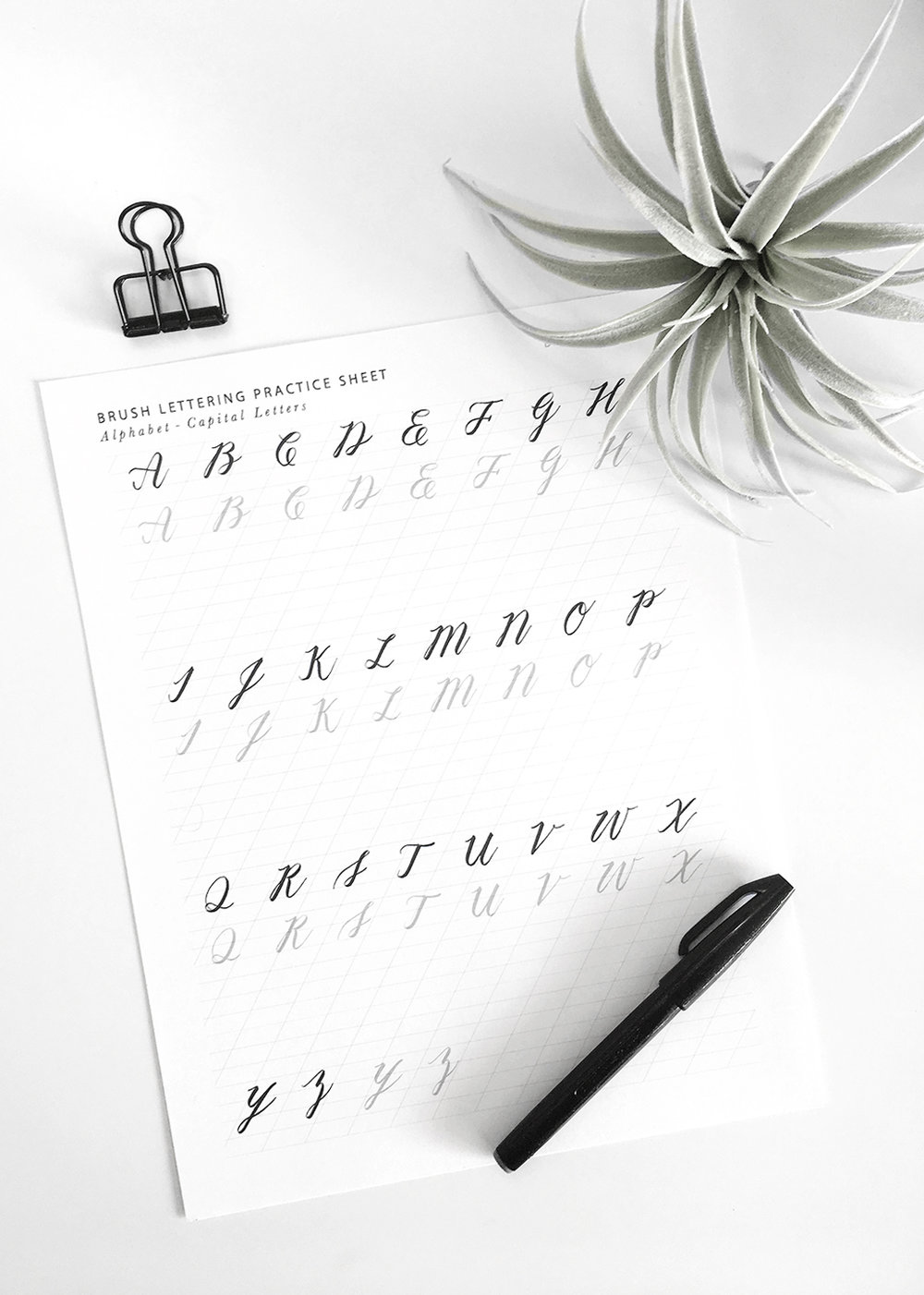 Free Brush Lettering Practice Sheet - Capital Letters | @DrawntoDIY