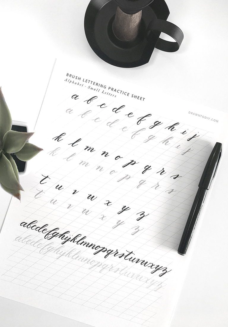 Free Brush Lettering Practice Sheet for Small Letters | @DrawntoDIY