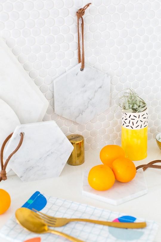 52 Weeks of DIYs | DIY Marble Serving Board by Sugar and Cloth