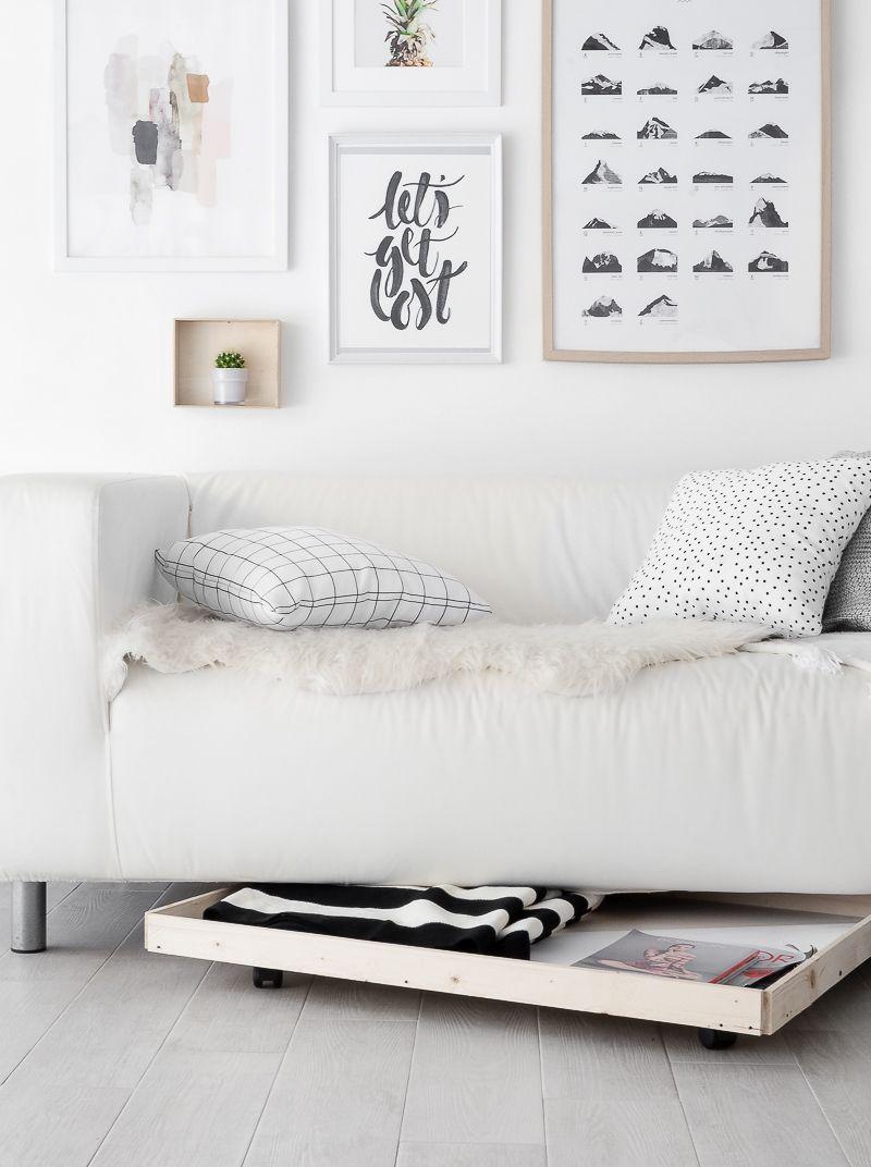 52 Weeks of DIYs | DIY Under Sofa Storage on Wheels by Passion Shake