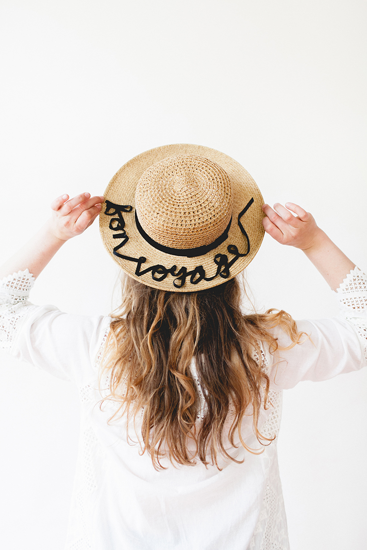52 Weeks of DIYs | DIY Appliqued Ribbon Statement Sunhat by Jojotastic
