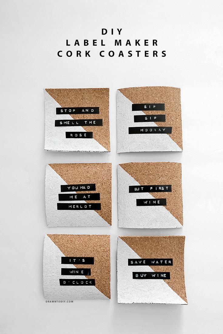 DIY Label Maker Cork Coasters | DrawntoDIY.com