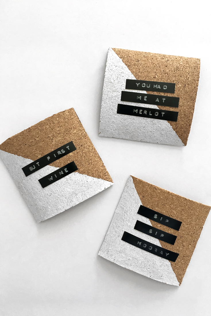 DIY Label Maker Cork Coasters | DrawntoDIY.com