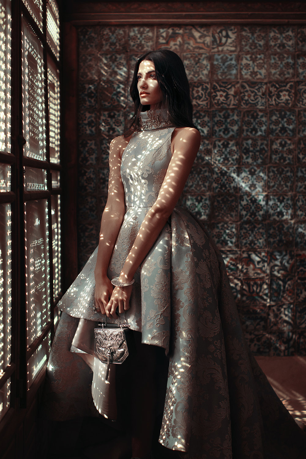 Published in Vogue Arabia Model: Tara Emad Styling: Lorand Lajos Bag: Okhtein Gown : Kojak Studio Cuff : Azza Fahmy Production: Maison Pyramide Photography and Art Direction: Bassam Allam Location: Beit Al Suhaimy, Cairo, Egypt