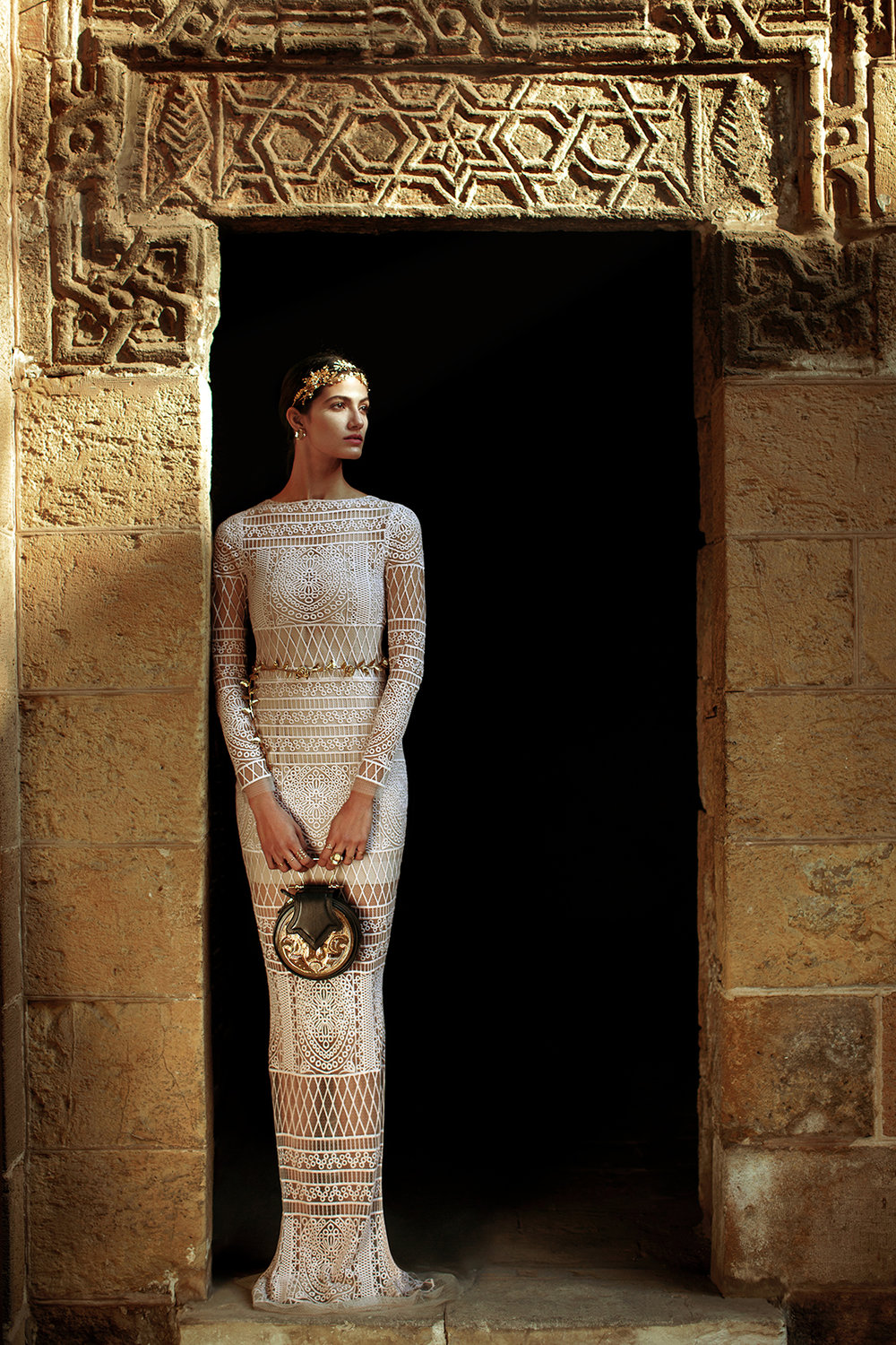 Published in Vogue Arabia Model: Tara Emad Styling: Lorand Lajos Bag: Okhtein Gown: Kojak Accessories: House of Select, Djeweled Production: Maison Pyramide Photography and Art Direction: Bassam Allam Location: Beit Al Suhaimy, Cairo, Egypt