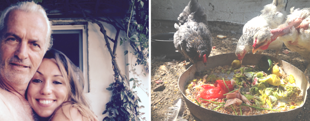 left: My uncle Giannis and me /right: His chickens feasting on tomato skins and fig peels