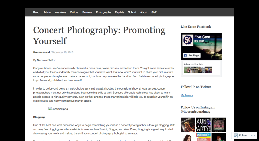 Concert Photography: Promoting Yourself