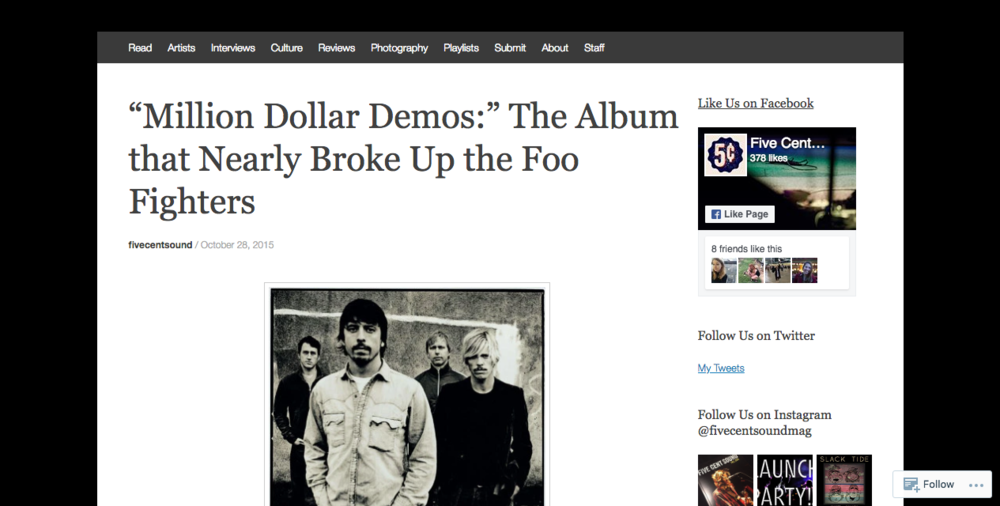 """""""Million Dollar Demos:"""" The Album that Nearly Broke Up the Foo Fighters"""