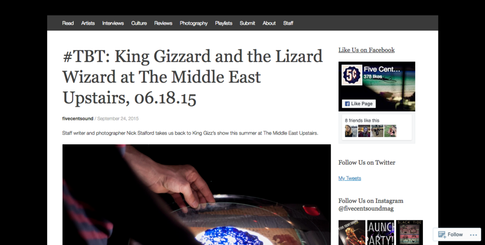 King Gizzard and the Lizard Wizard at Middle East Upstairs