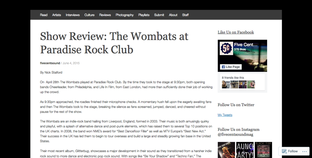 The Wombats at Paradise Rock Club