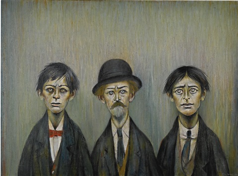 """Artist: LS Lowry """"Father and Two Sons"""" Photograph of artwork by author."""