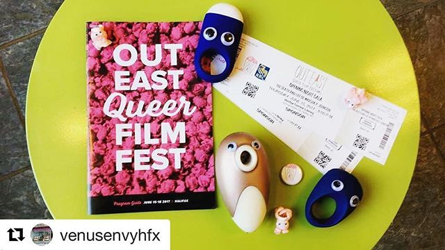 our AMAZING partners at @venusenvyhfx are giving away opening night tix - check it! #Repost @venusenvyhfx with @repostapp ・・・ Woah the @outeastfilmfest  starts this week and we are giving away 5 pairs of tickets to their opening gala and these little guys are vibrating (and sucking?) in excitement! ---------- To enter you have to be following us as well as like & comment what film in the program guide are you most excited to see! Contest closes Tuesday at 6pm! 🍿👀😦#outeastqueerfilmfest #excitedvibes #ahhhhhhhhhhh #winmylovebutalsotheseticketsarecooltoo