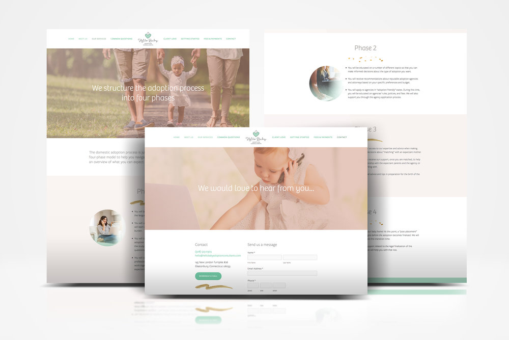 Hello Baby Adoption Consultants website social media branding print holly avenue designs madison Wisconsin studio