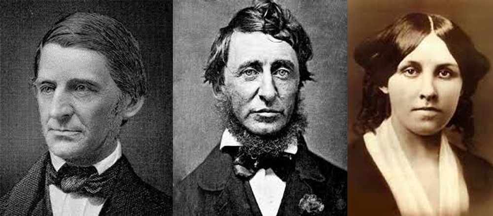 R.W. Emerson (L), H.D. Thoreau, L.M. Alcott (R)