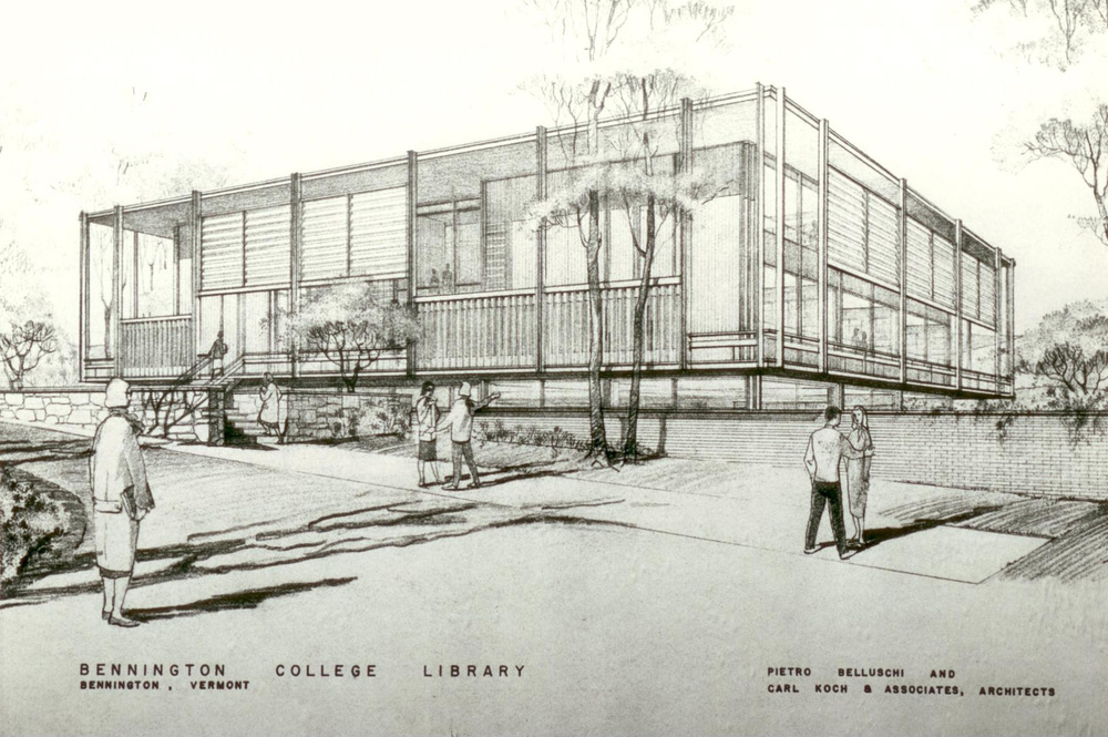 Perspective Sketch of Crossett Library