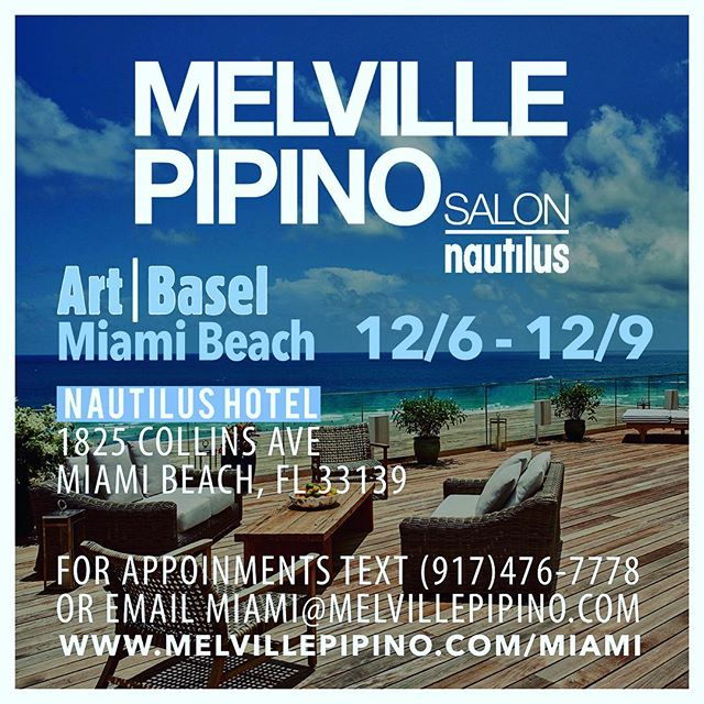 Heading down to Miami for Art Basel next week. We will be located at The Nautilus Hotel on 18th st and Collins Ave.  Schedule now for hair services!! miami@MelvillePipino.com................................................................................ #beauty #hair #artbasel #beachhair #miami #melvillepipino #art #sexyhair #artlovers #curls #ricpipinoonlocation @nautilussobe @sixtyhotels @melvillepipino @ricpipino @artbasel @artbasel_miami