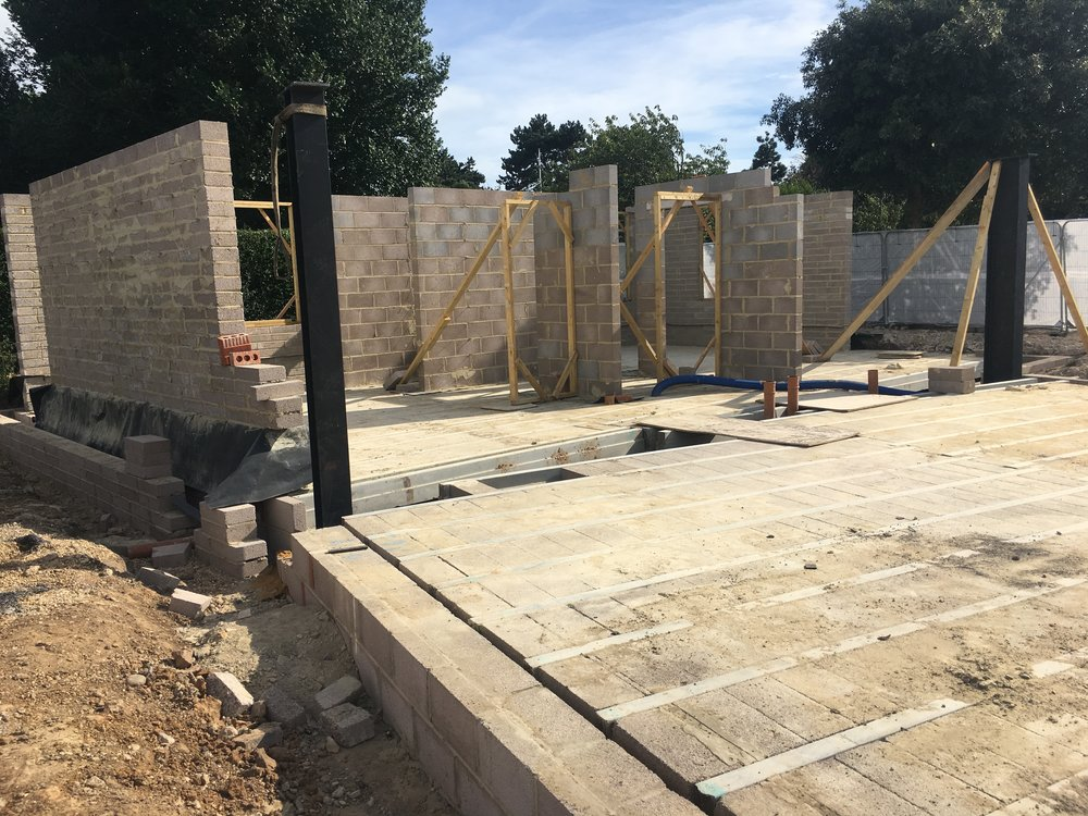 The structural block work walls and steels are erected.