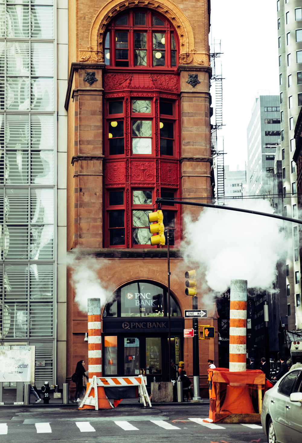 Steam works in lower Manhattan.
