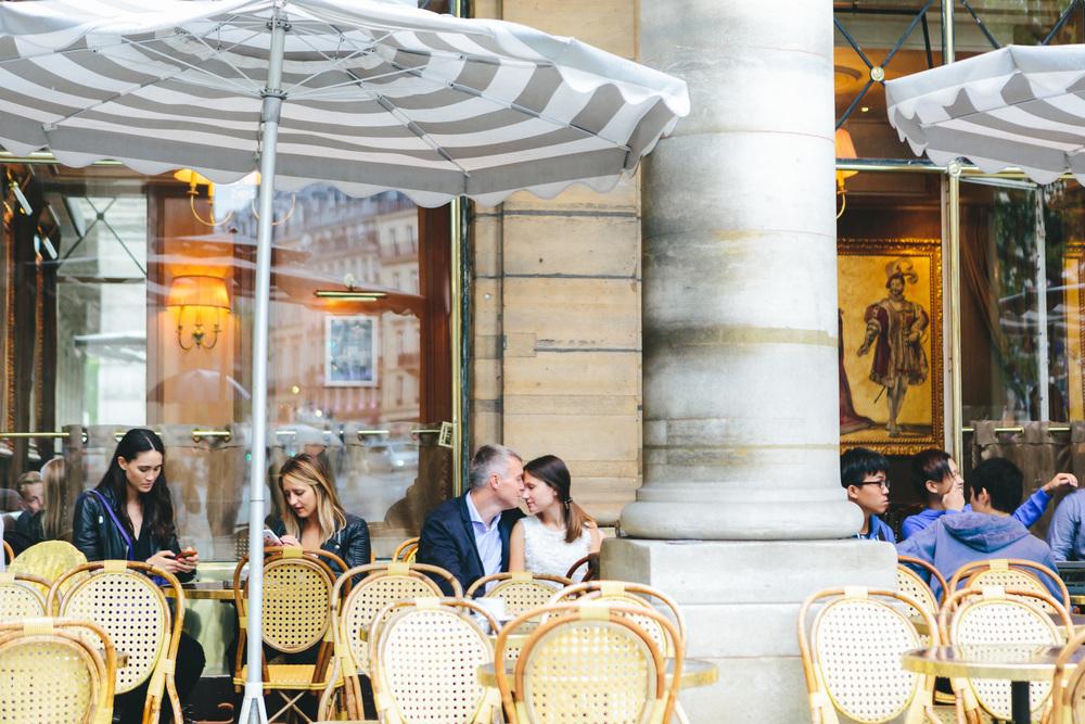 Paris Photographer Couple Session Cafe Louvre IheartParisfr