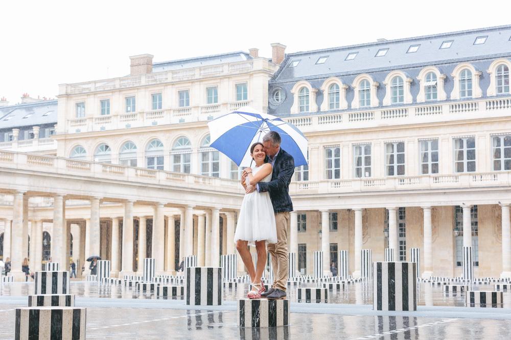 Paris Photographer Rainy Couple Session Umbrella Palais Royal Iheartparisfr