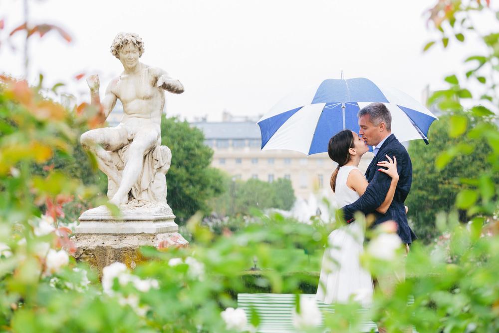 Paris Photographer Couple Session Palais Royal Rain Umbrella IheartParisfr