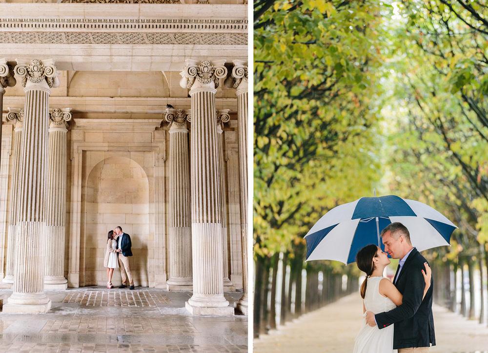 Photographer in Paris Couple Session Louvre Palais Royal Rain Umbrella Iheartparisfr