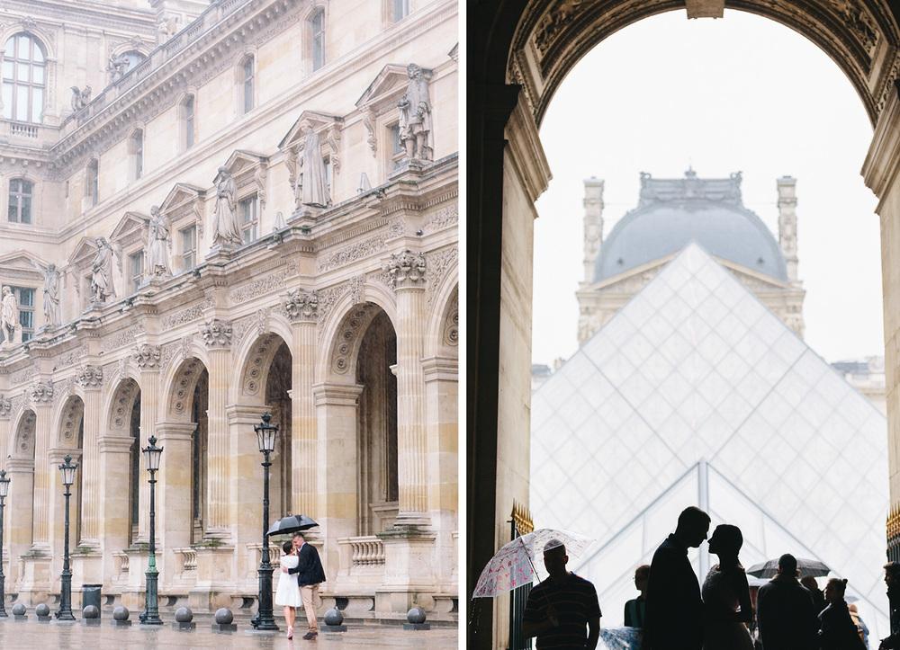 Photographer in Paris Romantic Couple Session Rain Louvre IheartParisfr