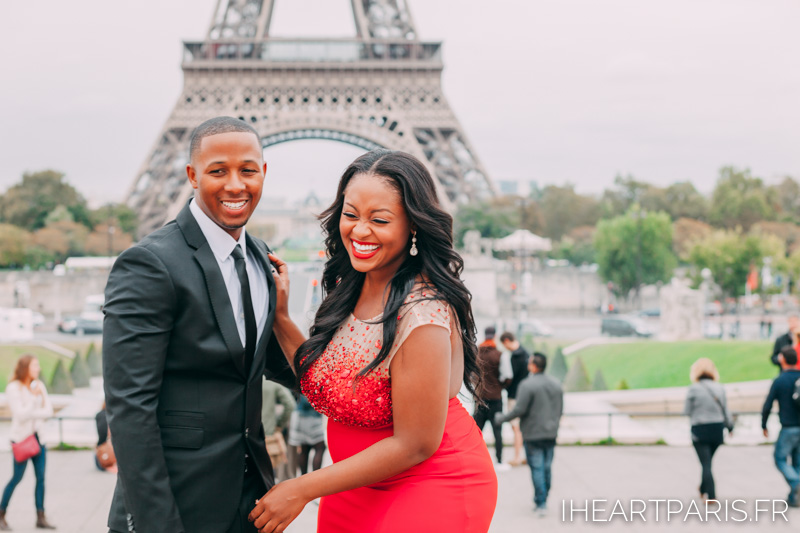 Couple Eiffel Tower Trocadero I heart Paris Red Dress