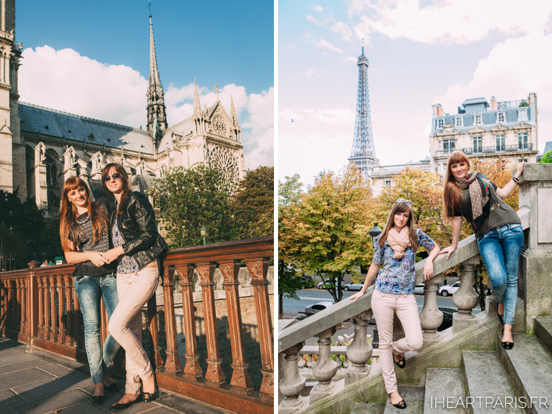 Sisters Portrait Paris Notre Dame Eiffel Tower IheartParis