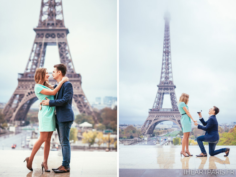 Photographer in Paris Engagement Surprise Eiffel Tower