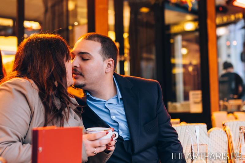 Engagement Paris Session Cafe IheartParisfr