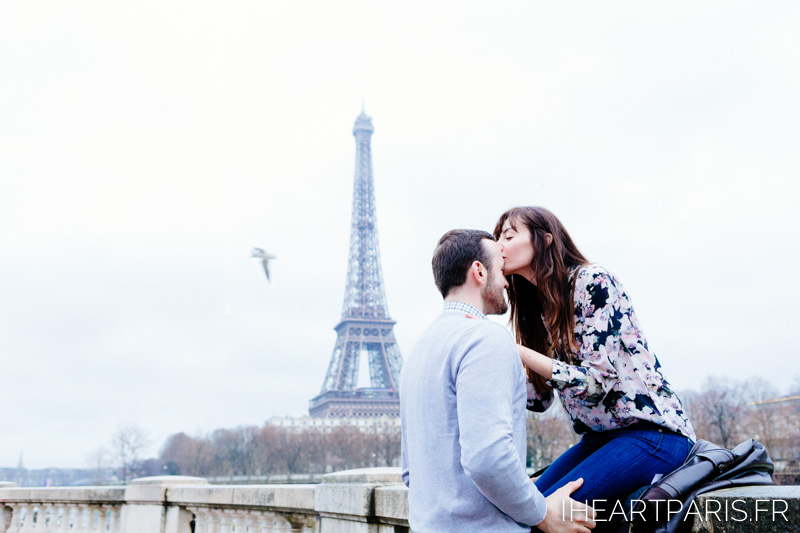 Photographer in Paris Engagement Kiss Eiffel Tower iheartparisfr