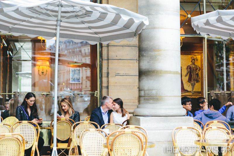 Paris Photographer Couple Session Cafe Louvre IheartParisfr