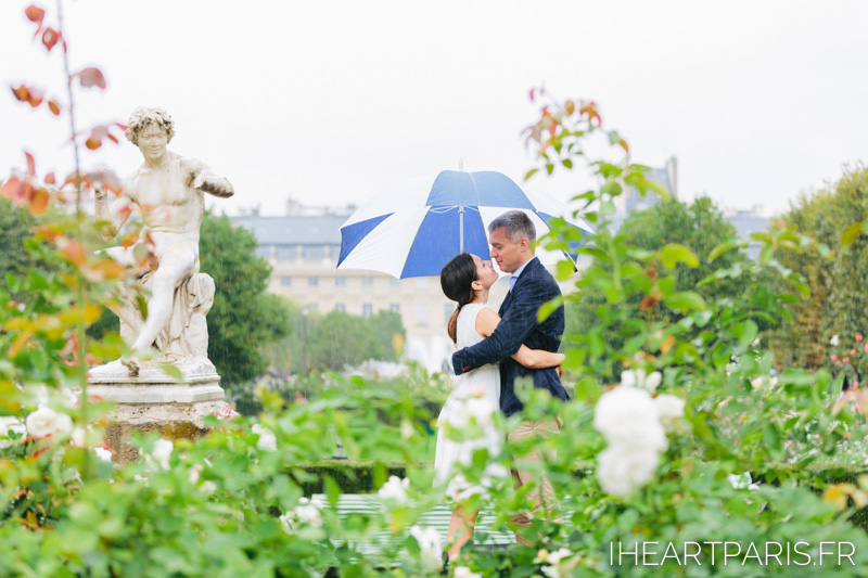 Paris Photographer Couple Session Palais Royal Rain Umbrella IheartParisfr