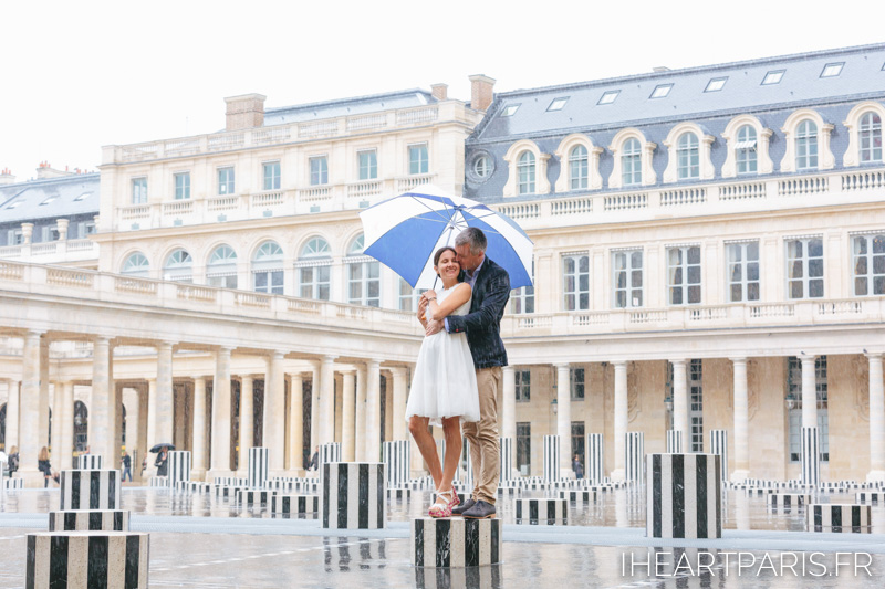 Paris Photographer Rainy Couple Session Umbrella Palais Royal Iheartparisfr