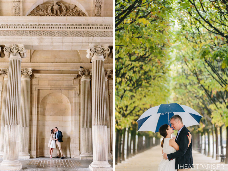 Photographer in Paris Couple Session Louvre Palais Royal Rain Umbrella Iheartparisfr