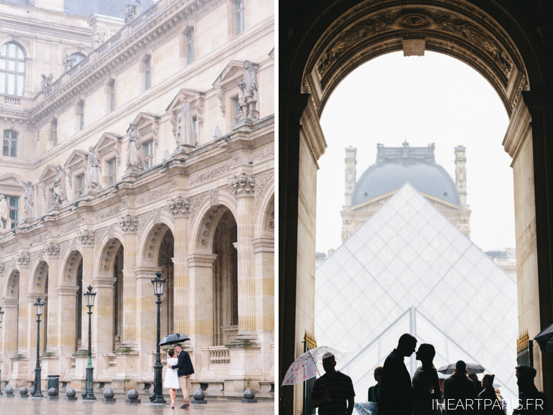 Photographer in Paris Romantic Couple Session Rain Louvre IheartParisfr