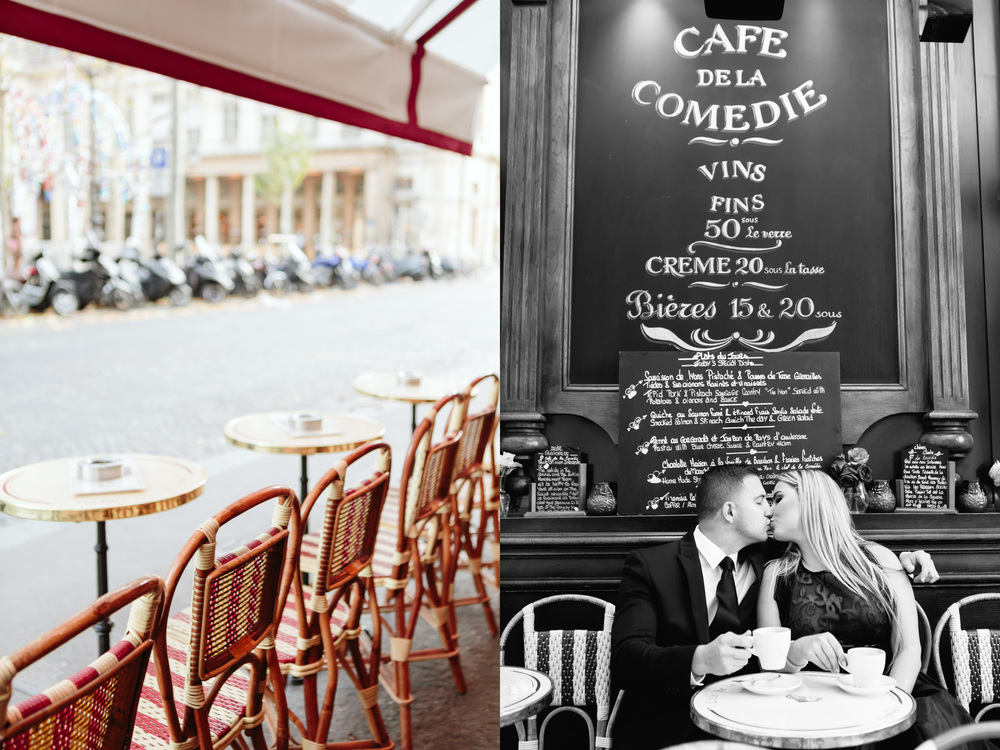 Photographer in Paris Engagement Session Cafe IheartParisfr